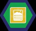 Badges title hexagon BG-17