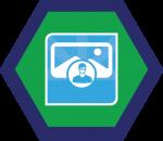 Badges title hexagon BG-18