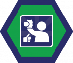 Badges title hexagon BG-22